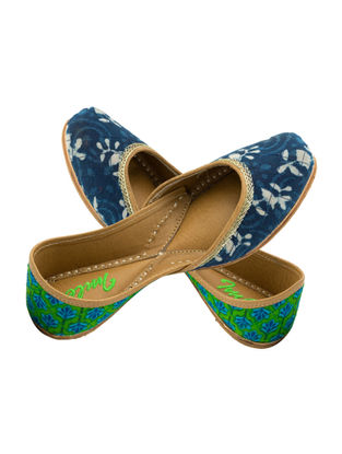 Indigo-Green Block-printed Cotton and Leather Juttis for Women