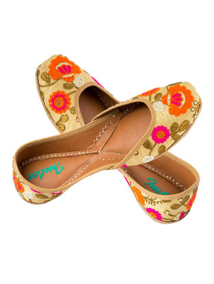 Beige-Multicolored Floral Embroidered Cotton and Leather Juttis for Women