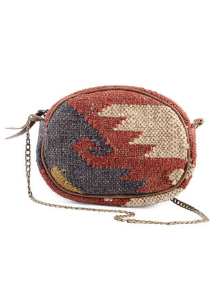 Multicolored Wool Jute Kilim and Leather Sling Bag