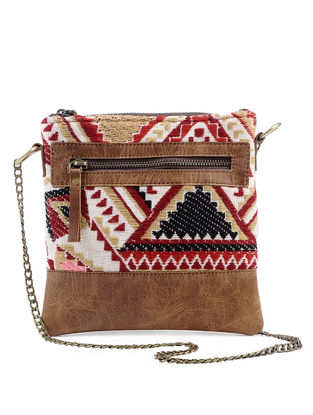 Tan-Multicolored Jacquard Cotton and Leather Sling Bag