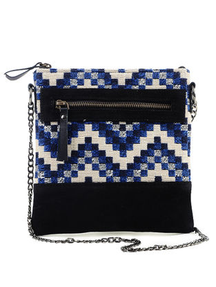 Black-Blue Jacquard Cotton and Suede Leather Sling Bag