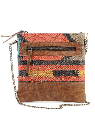 Tan-Multicolored Wool Jute Kilim and Leather Sling Bag