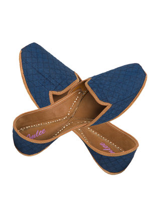 Blue Handcrafted Quilted Silk and Leather Jutti for Men