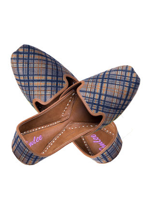 Blue-Orange Handcrafted Checkered Suede and Leather Jutti for Men