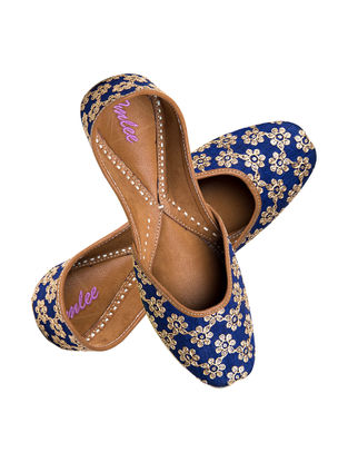 Blue Embroidered Silk and Leather Jutti with Sequin Dori