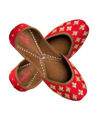 Red-Gold Handcrafted Silk and Leather Jutti