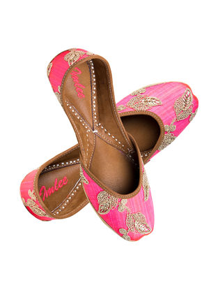 Pink Embroidered Silk and Leather Jutti