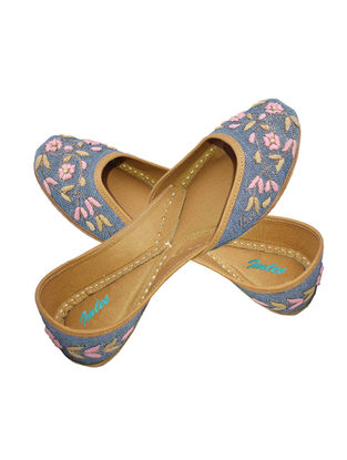 Indigo-Pink Hand-Embroidered Chambray and Leather Juttis