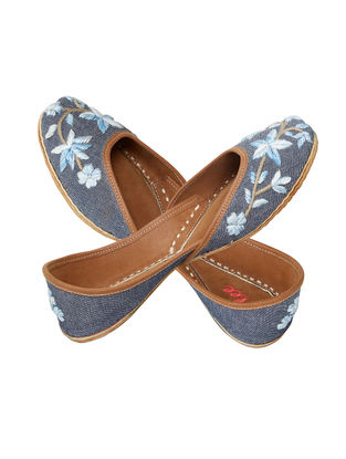 Blue Hand-Embroidered Denim and Leather Juttis