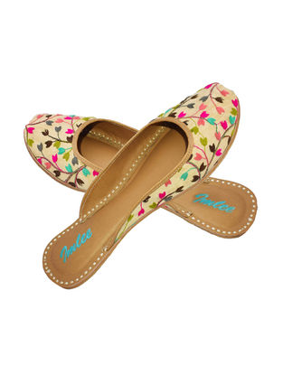 Beige-Multicolored Embroidered Silk and Leather Mojaris