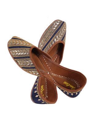 Navy Blue-Golden Hand Embroidered Gotapatti Silk Leather Jutti