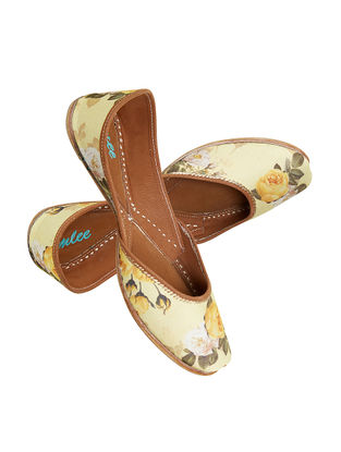 Yellow Floral Printed Leather Jutti