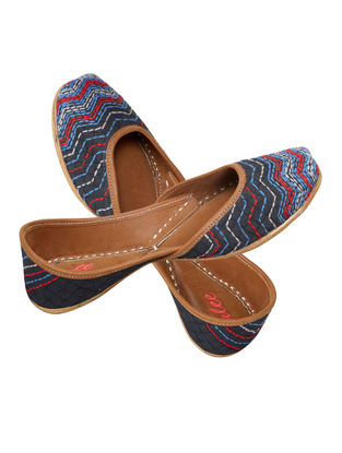 Blue-Red Handcrafted Leather Jutti
