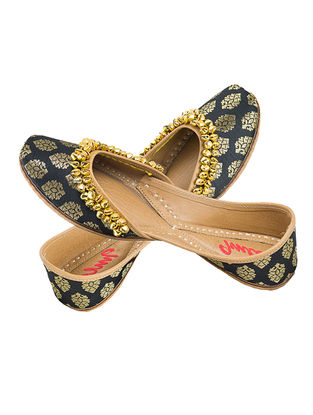 Black Embellished Brocade Silk and Leather Juttis for Women
