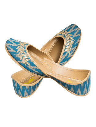 Blue Tilla-embroidered Ikat Cotton and Leather Juttis for Women