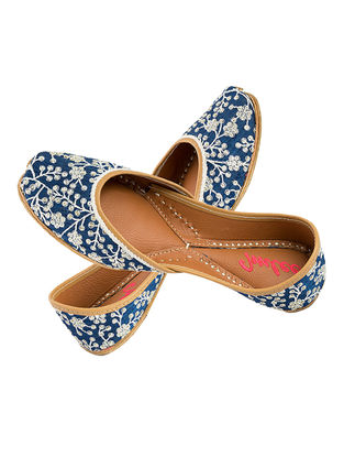 Blue-Ivory Sequin and Thread Embroidered Silk and Leather Juttis for Women