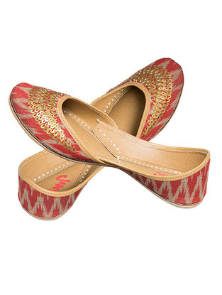 Red Sequin Embroidered Ikat Cotton and Leather Juttis for Women