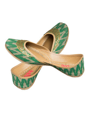 Green Sequin Embroidered Ikat Cotton and Leather Juttis for Women