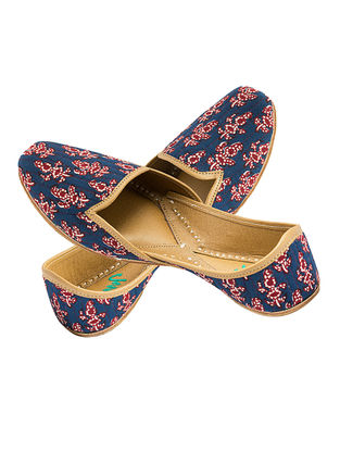 Blue-Red Printed Cotton and Leather Juttis for Men