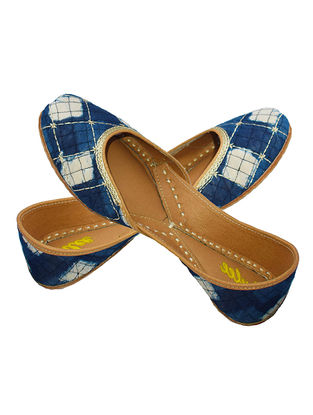 Indigo Zari Embroidered Chanderi and Leather Juttis for Women