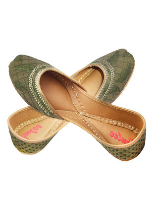 Olive Zari Embroidered Brocade and Leather Juttis for Women