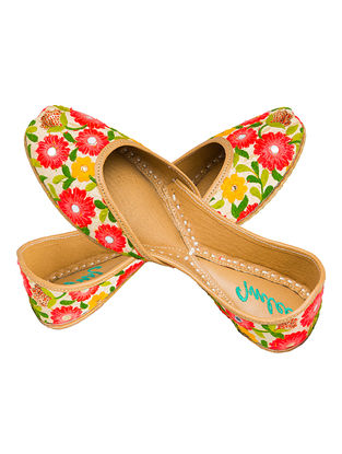 Multicolored Thread Embroidered Cotton and Leather Juttis for Women