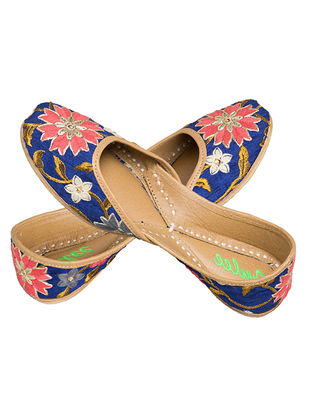 Blue-Multicolored Thread Embroidered Silk and Leather Juttis for Women