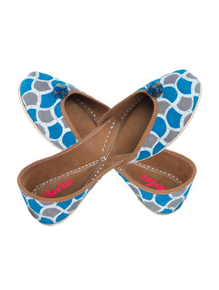 Blue-Grey Block-Printed Cotton and Leather Juttis with Pom-Poms