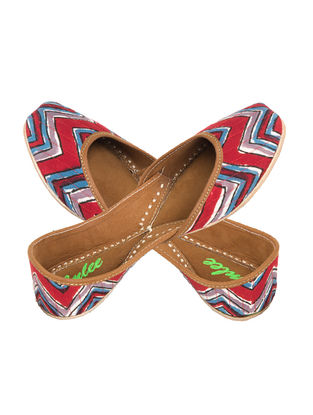 Red-Blue Chevron Printed Cotton and Leather Juttis