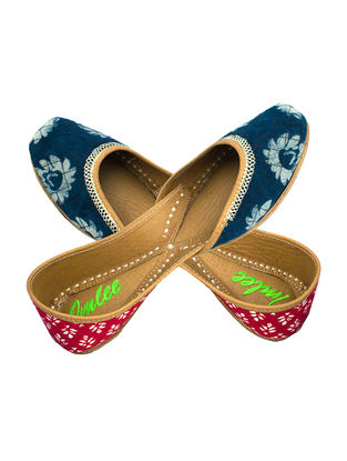 Indigo-Red Handcrafted Cotton and Leather Juttis with Zari Embroidery