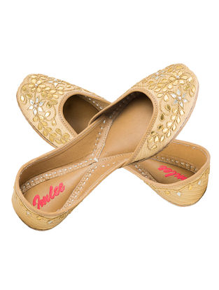 Golden Gota Patti Embellished Brocade and Leather Juttis