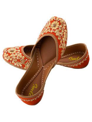 Orange Gota Embroidered Silk and Leather Juttis