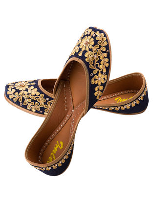 Blue Gota Embroidered Silk and Leather Juttis