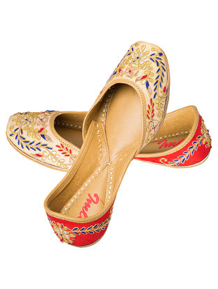 Beige-Red Gota Embroidered Silk and Leather Juttis