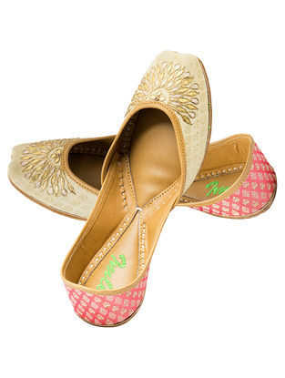 Beige-Peach Gota Embroidered Silk and Leather Juttis