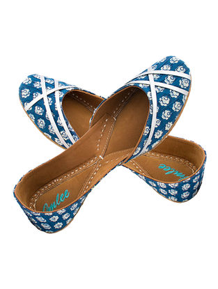 Indigo-Silver Floral Printed Cotton and Leather Juttis