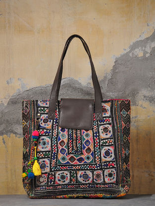 Multicolored Hand-Embroidered Tote Bag With Tassels
