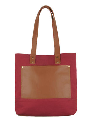 Red-Light Brown Canvas-Leather Tote Bag