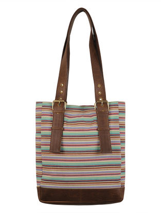 Multi-Color-Brown Canvas-Leather Stripes Tote Bag