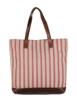 Beige-Carmine Red-Brown Canvas-Leather Stripes Tote Bag