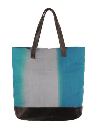 Turquoise-Grey-Brown Canvas-Leather Ombre Tote Bag