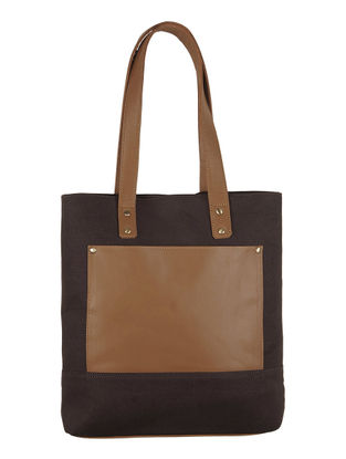 Brown Canvas-Leather Tote Bag