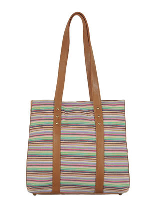 Multi-Color-Light Brown Canvas-Leather Stripes Tote Bag
