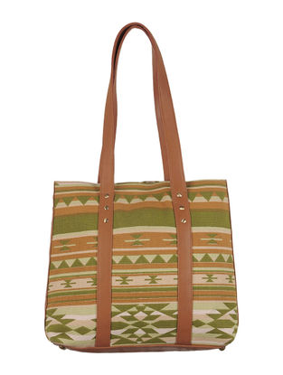 Light Green-Light Brown Canvas-Leather Aztec Motif Tote Bag
