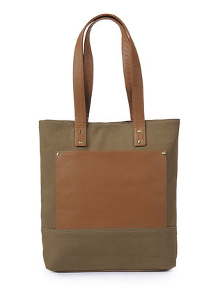Light Brown-Tan Canvas and Leather Tote