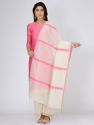 Ivory-Pink Chanderi Dupatta with Zari Border