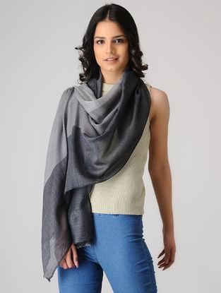 Grey-Black Merino Silk Stole