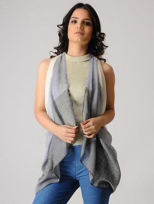 Grey-Ivory Merino Silk Stole