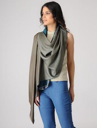 Teal-Brown Reversible Merino Silk Stole