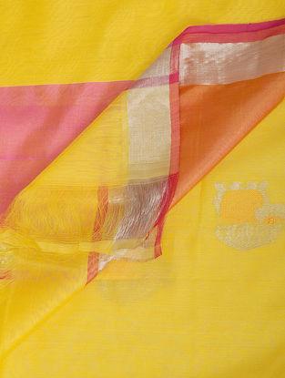 Yellow-Pink Chanderi Dupatta with Zari